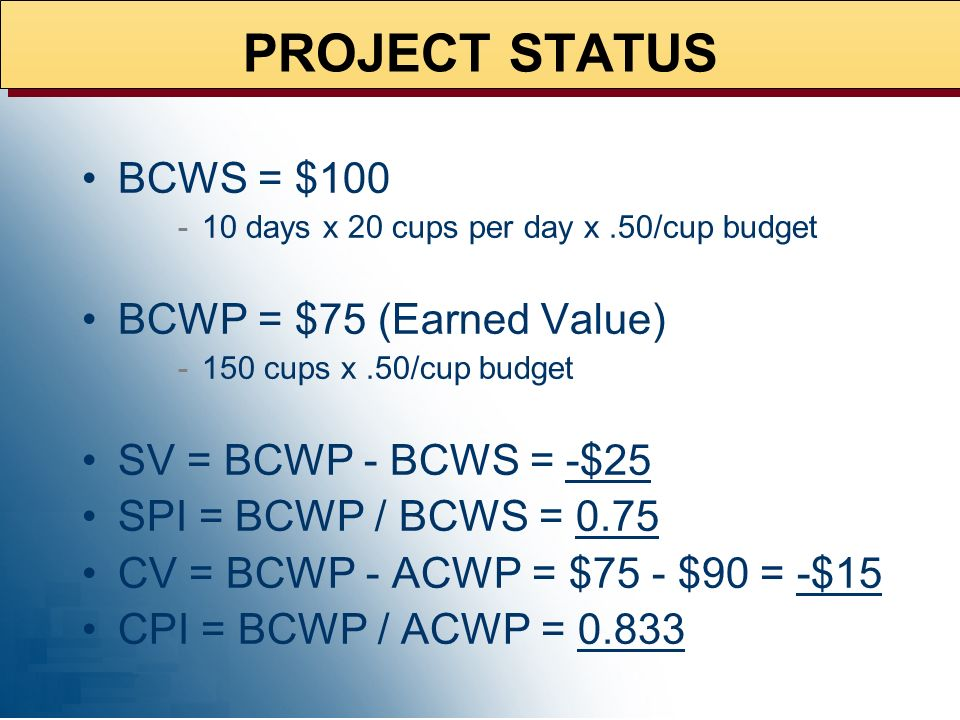 At end of day 10: 150 cups have been made Total actual cost is $90 (ACWP) STATUS EOD 10
