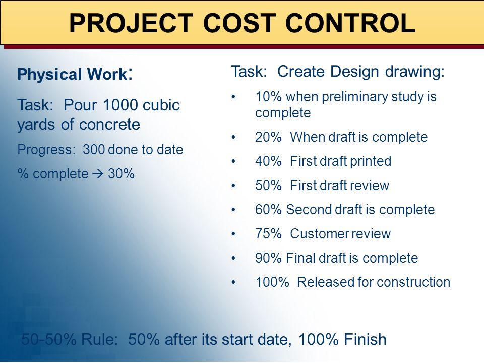 PROJECT COST CONTROL EVA = f(% Complete) Uniform Unit of Measure CONSTRUCTION Concrete (cubic yards) Forms (sq ft) Pipe (ft) Rebar (tons) Conduit (ft)