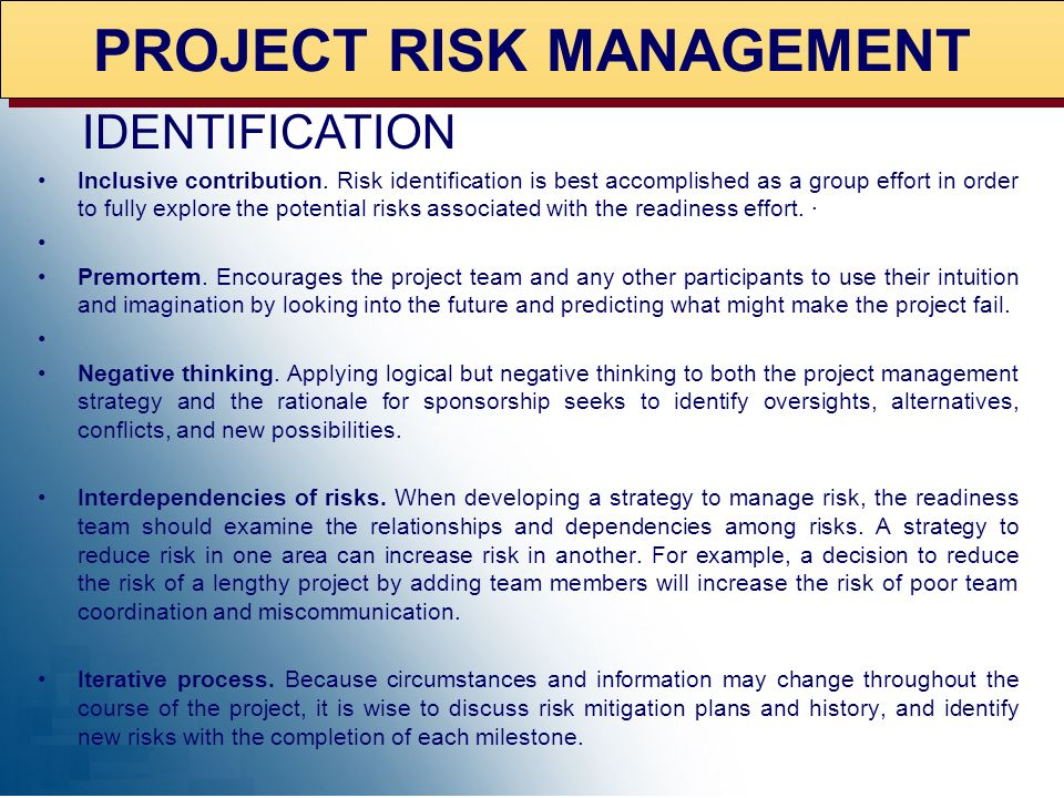 PROJECT RISK MANAGEMENT Risk Management Process