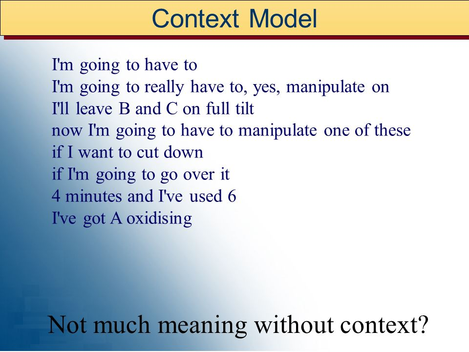 What is Context Context influences how we perceive information. Context enables us to manage the vast amount of information that surrounds us. Context