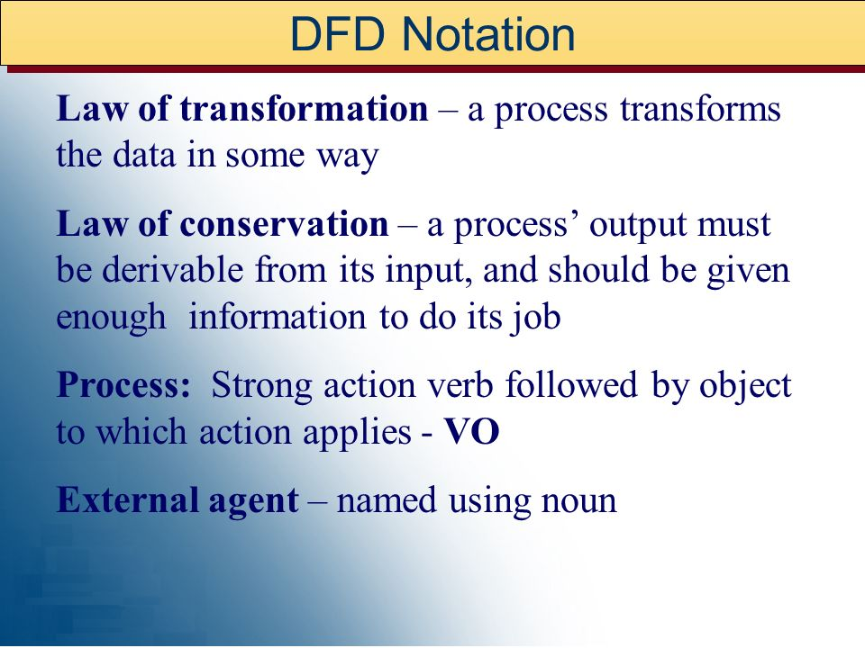 DFD – CONTEXT DIAGRAM Data source/sink, external entity Data/Process – strong action verb, followed by object Data Store