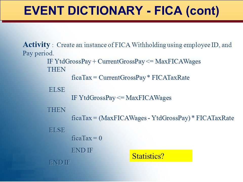 EVENT DICTIONARY – FICA Event ID: 099 Event Name: Calculate FICA Withholding Taxes Description : Simple tax withholding calculation using FICA Tax Rat