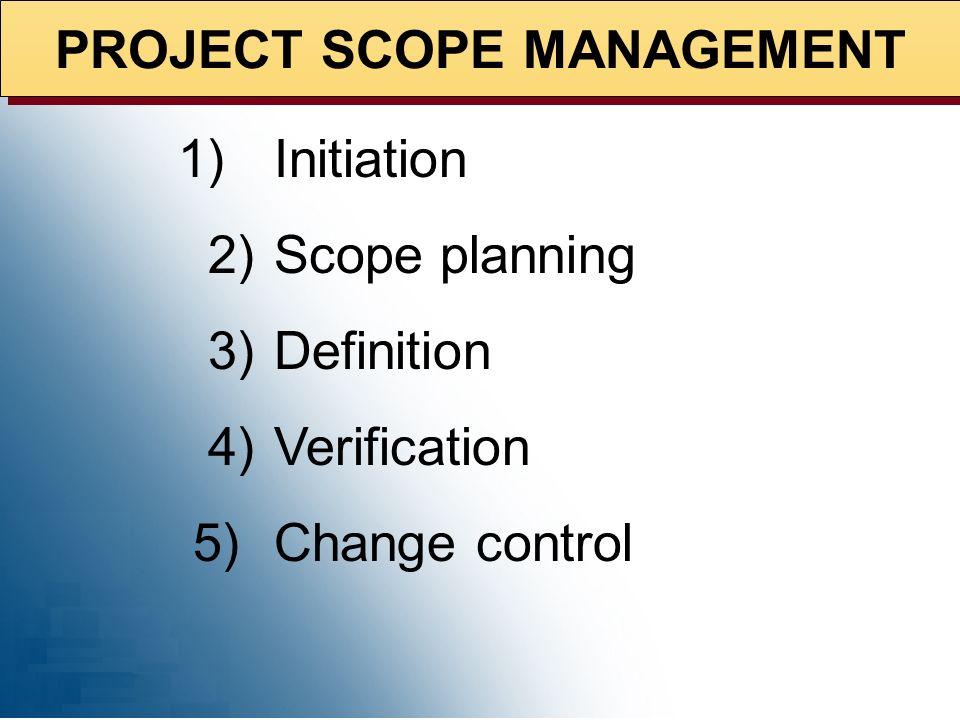 PROJECT SCOPE MANAGEMENT Planning Models