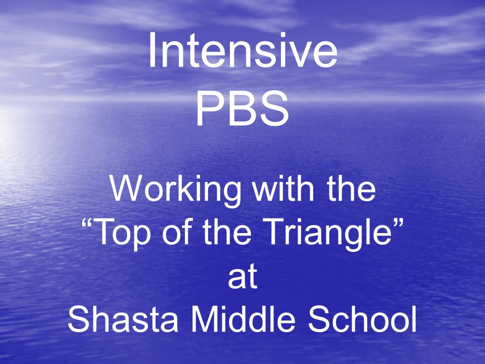 Intensive PBS Working with the Top of the Triangle at Shasta Middle School