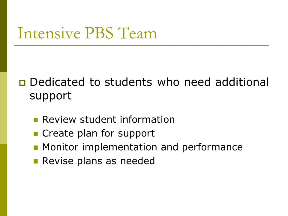 Intensive PBS Team Dedicated to students who need additional support Review student information Create plan for support Monitor implementation and per