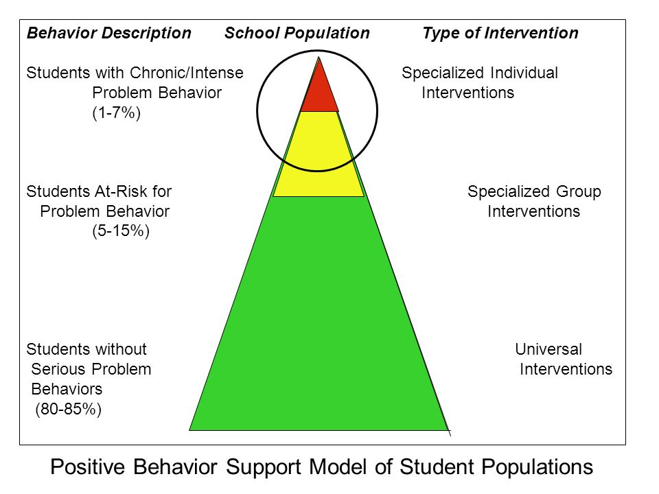 Behavior DescriptionSchool PopulationType of Intervention Students with Chronic/Intense Specialized Individual Problem BehaviorInterventions (1-7%) St