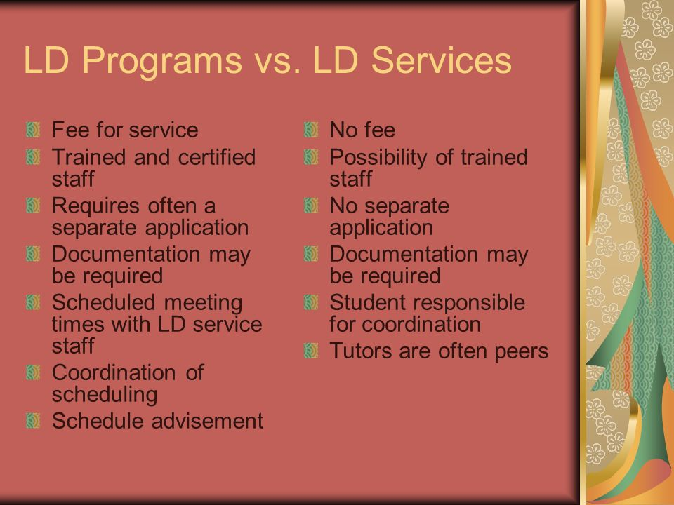 LD Programs vs.