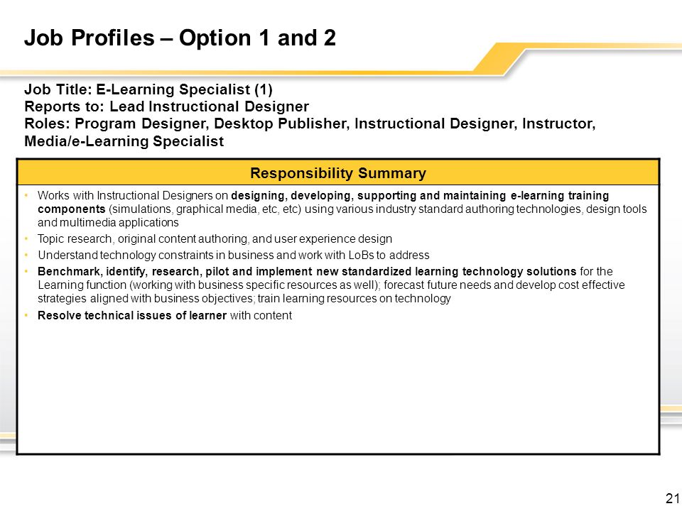 21 Job Profiles – Option 1 and 2 Job Title: E-Learning Specialist (1) Reports to: Lead Instructional Designer Roles: Program Designer, Desktop Publisher, Instructional Designer, Instructor, Media/e-Learning Specialist Responsibility Summary Works with Instructional Designers on designing, developing, supporting and maintaining e-learning training components (simulations, graphical media, etc, etc) using various industry standard authoring technologies, design tools and multimedia applications Topic research, original content authoring, and user experience design Understand technology constraints in business and work with LoBs to address Benchmark, identify, research, pilot and implement new standardized learning technology solutions for the Learning function (working with business specific resources as well); forecast future needs and develop cost effective strategies aligned with business objectives; train learning resources on technology Resolve technical issues of learner with content