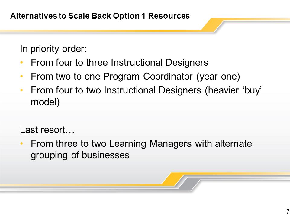 7 Alternatives to Scale Back Option 1 Resources In priority order: From four to three Instructional Designers From two to one Program Coordinator (year one) From four to two Instructional Designers (heavier buy model) Last resort… From three to two Learning Managers with alternate grouping of businesses