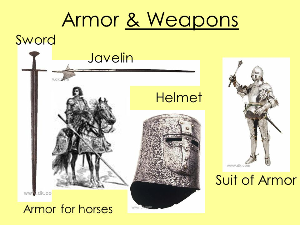 Armor & Weapons Helmet Suit of Armor Javelin Sword Armor for horses