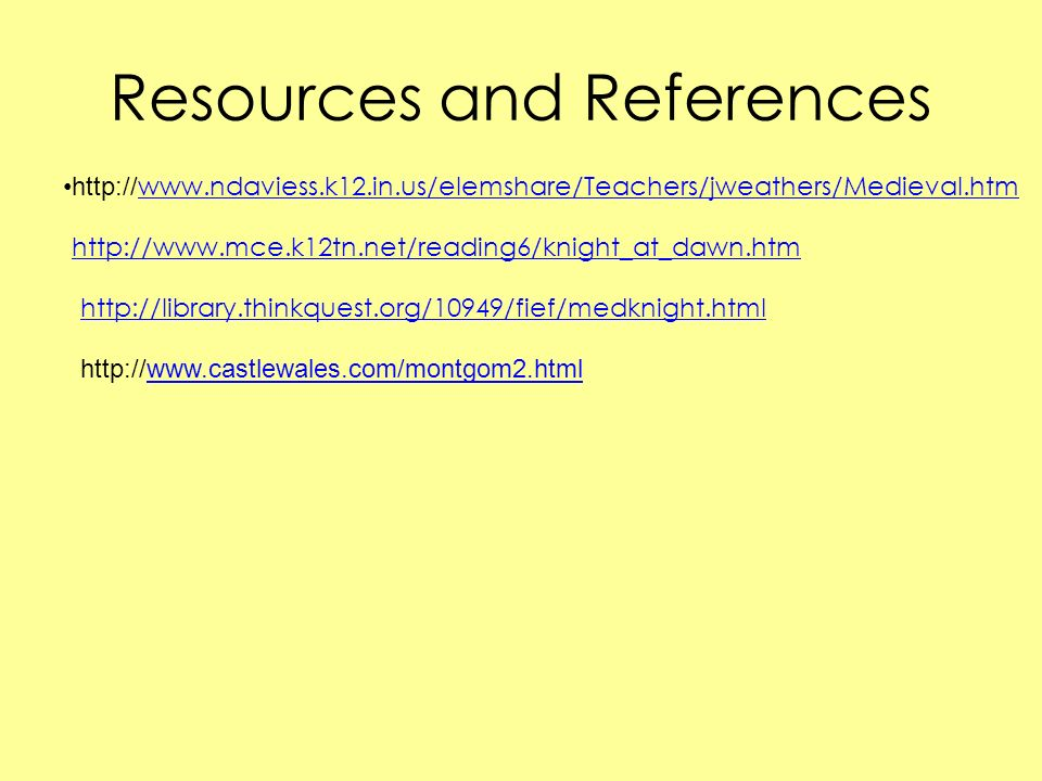 Resources and References http://www.mce.k12tn.net/reading6/knight_at_dawn.htm http://library.thinkquest.org/10949/fief/medknight.html http://www.castl