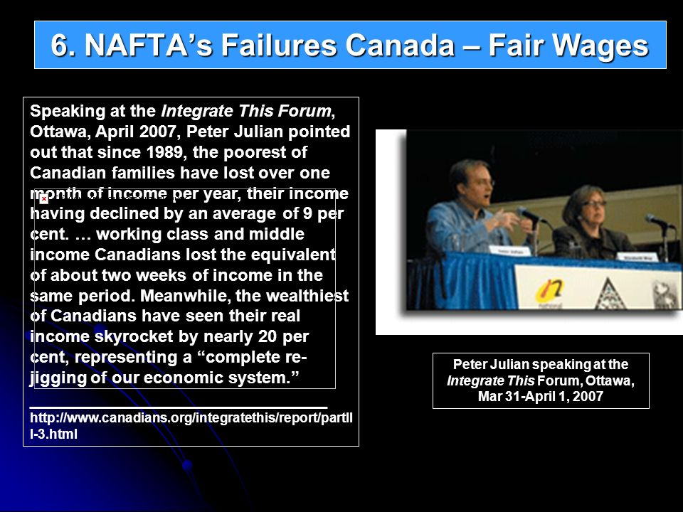 Speaking at the Integrate This Forum, Ottawa, April 2007, Peter Julian pointed out that since 1989, the poorest of Canadian families have lost over on