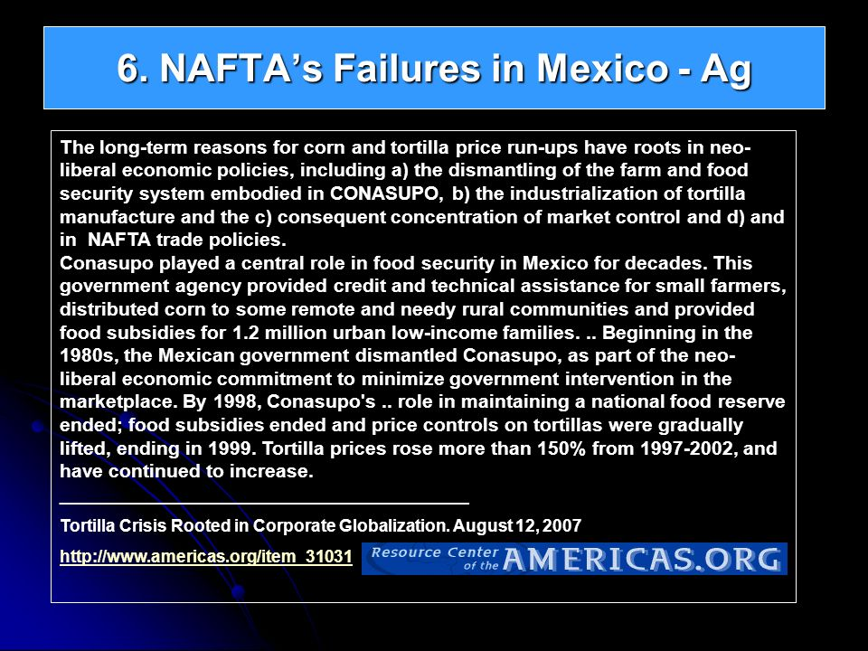 6. NAFTAs Failures in Mexico - Ag The long-term reasons for corn and tortilla price run-ups have roots in neo- liberal economic policies, including a)