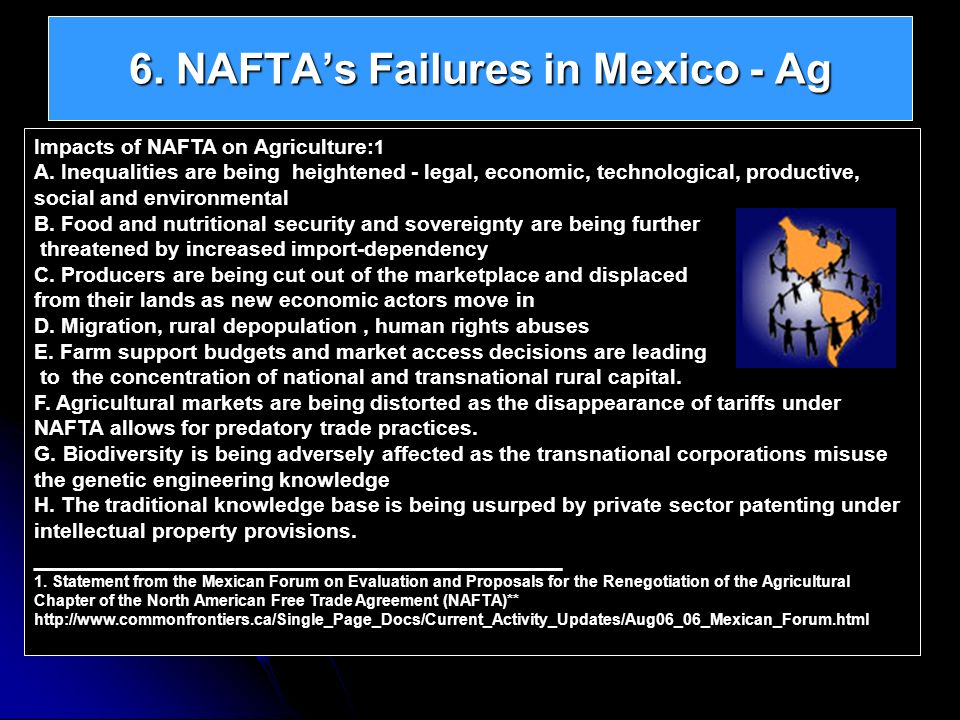 6. NAFTAs Failures in Mexico - Ag Impacts of NAFTA on Agriculture: 1 A. Inequalities are being heightened - legal, economic, technological, productive