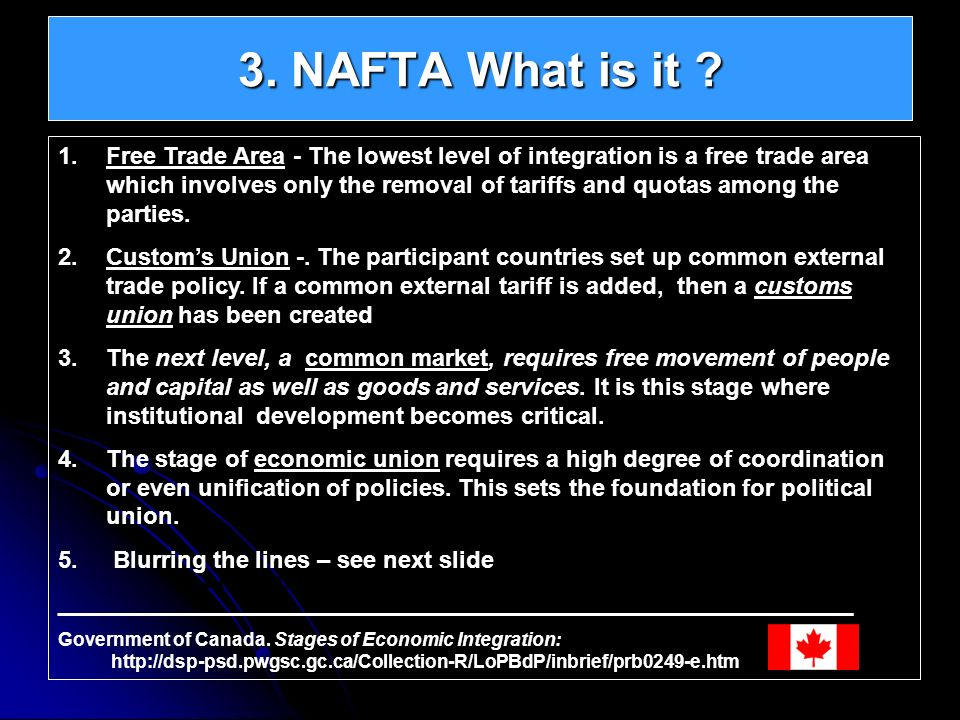 3. NAFTA What is it ? Continental Integration – North American Union 1.Free Trade Area - The lowest level of integration is a free trade area which in
