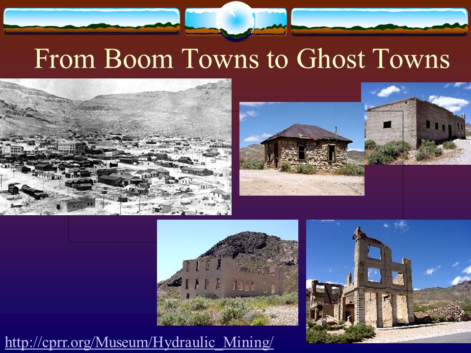 From Boom Towns to Ghost Towns http://cprr.org/Museum/Hydraulic_Mining/
