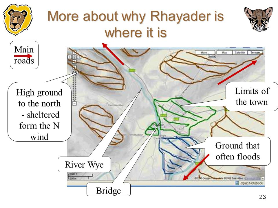 23 More about why Rhayader is where it is Limits of the town High ground to the north - sheltered form the N wind Ground that often floods River Wye B