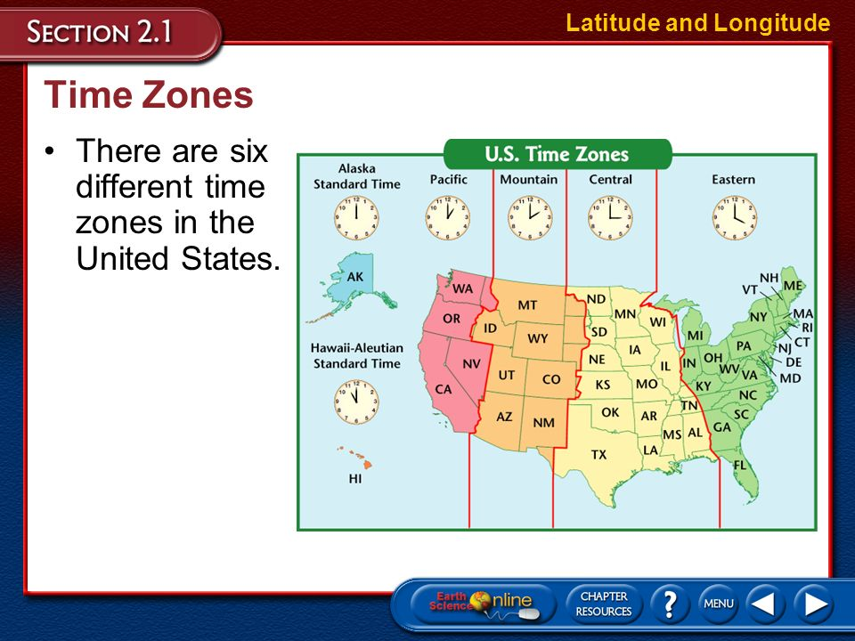Time Zones Each time zone is 15° wide, corresponding roughly to lines of longitude. Latitude and Longitude Time zone boundaries have been adjusted in