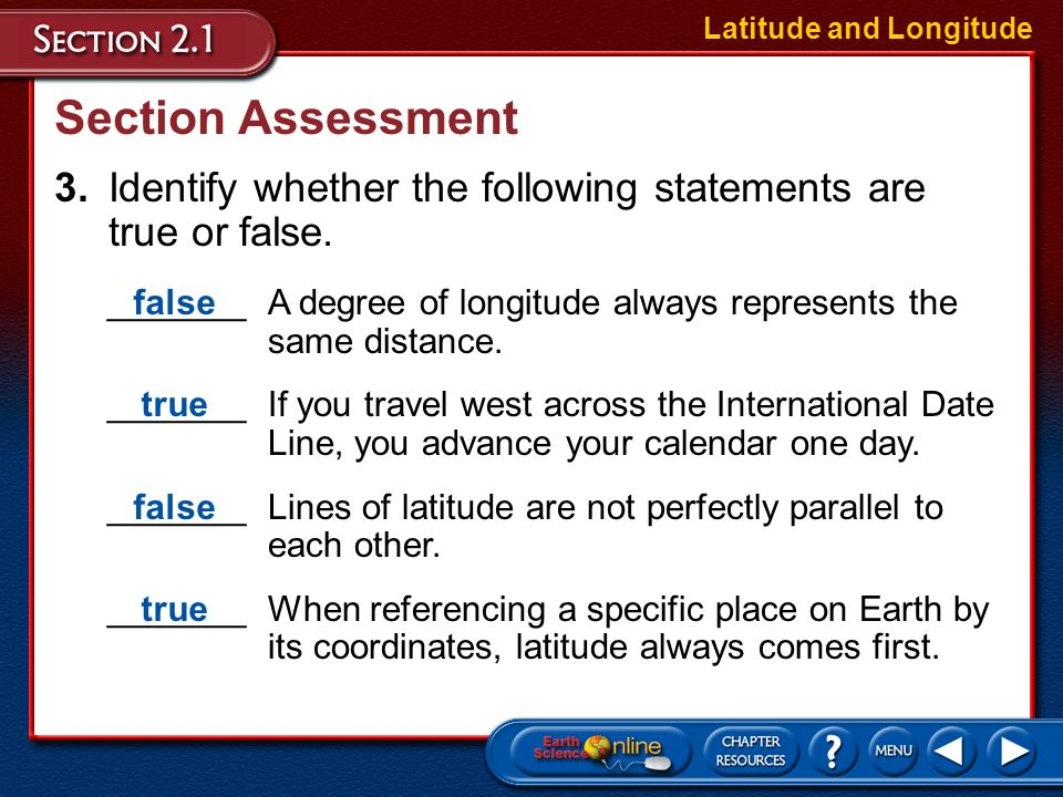 Section Assessment 2.If it is 10 A.M. in Madagascar, what time is it in Washington, D.C.? Latitude and Longitude It is 2 A.M. in Washington, D.C.