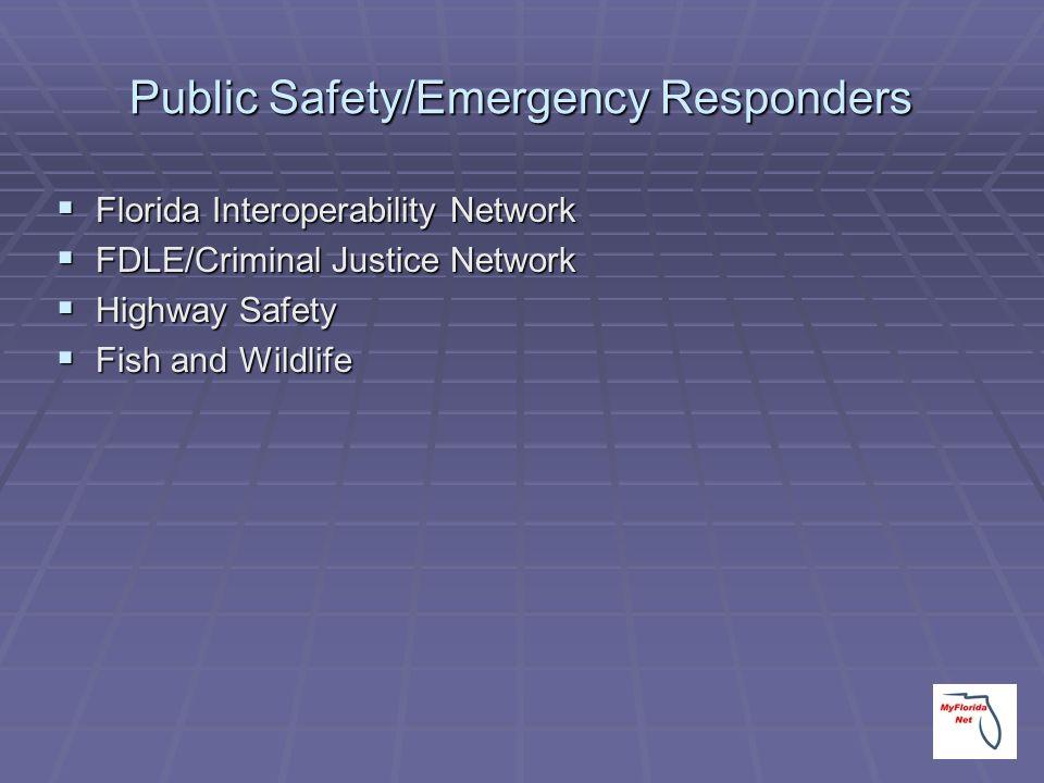 Public Safety/Emergency Responders Florida Interoperability Network Florida Interoperability Network FDLE/Criminal Justice Network FDLE/Criminal Justi