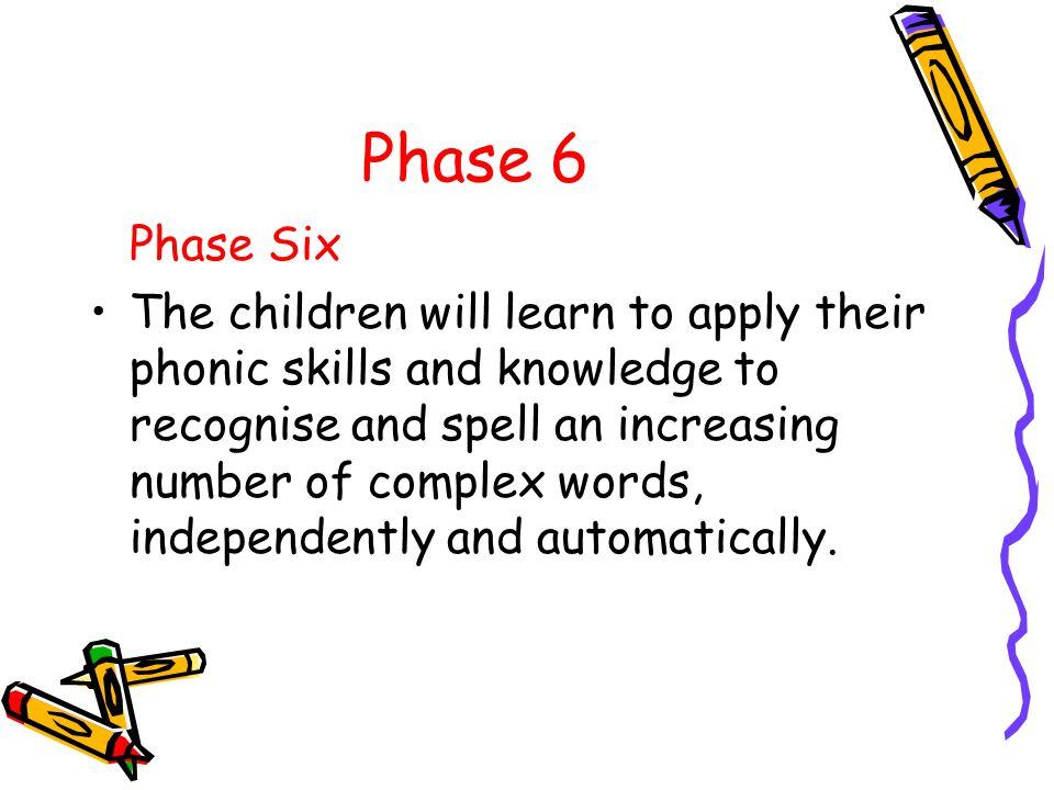 Phase 6 Phase Six The children will learn to apply their phonic skills and knowledge to recognise and spell an increasing number of complex words, ind