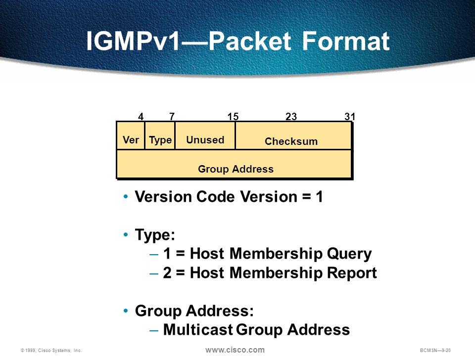 © 1999, Cisco Systems, Inc. www.cisco.com BCMSN9-20 IGMPv1Packet Format Version Code Version = 1 Type: – 1 = Host Membership Query – 2 = Host Membersh
