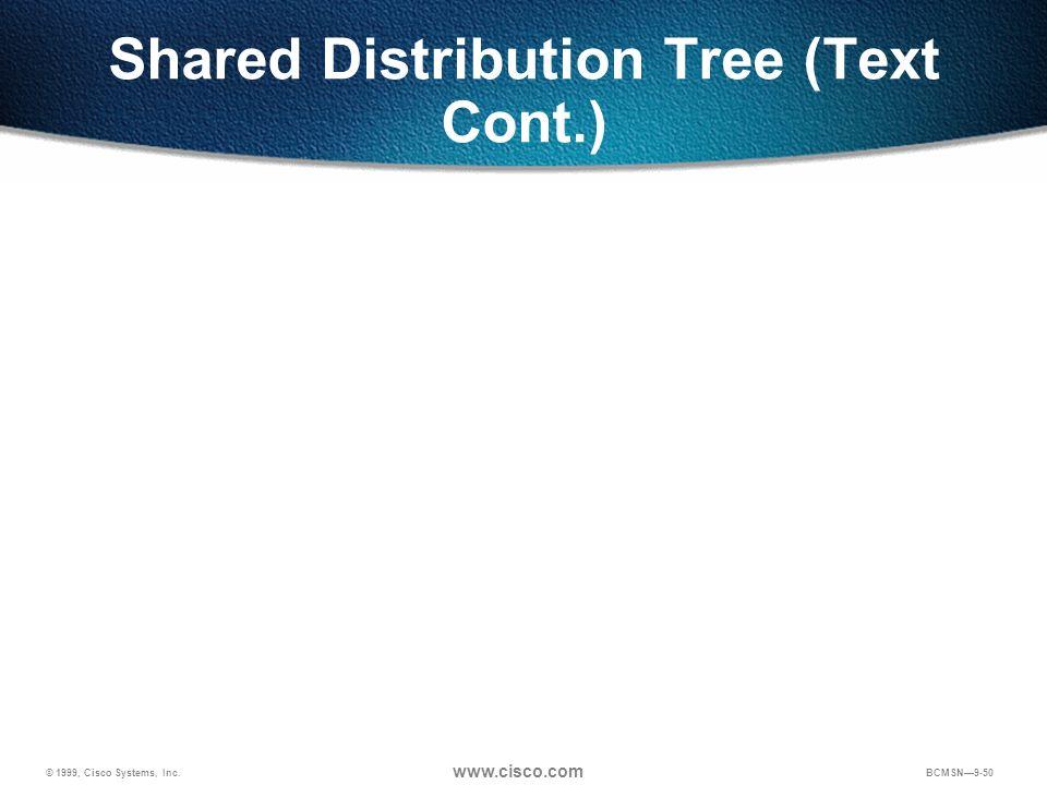 © 1999, Cisco Systems, Inc. www.cisco.com BCMSN9-50 Shared Distribution Tree (Text Cont.)