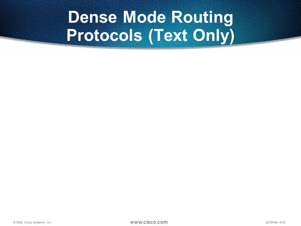 © 1999, Cisco Systems, Inc. www.cisco.com BCMSN9-55 Dense Mode Routing Protocols (Text Only)
