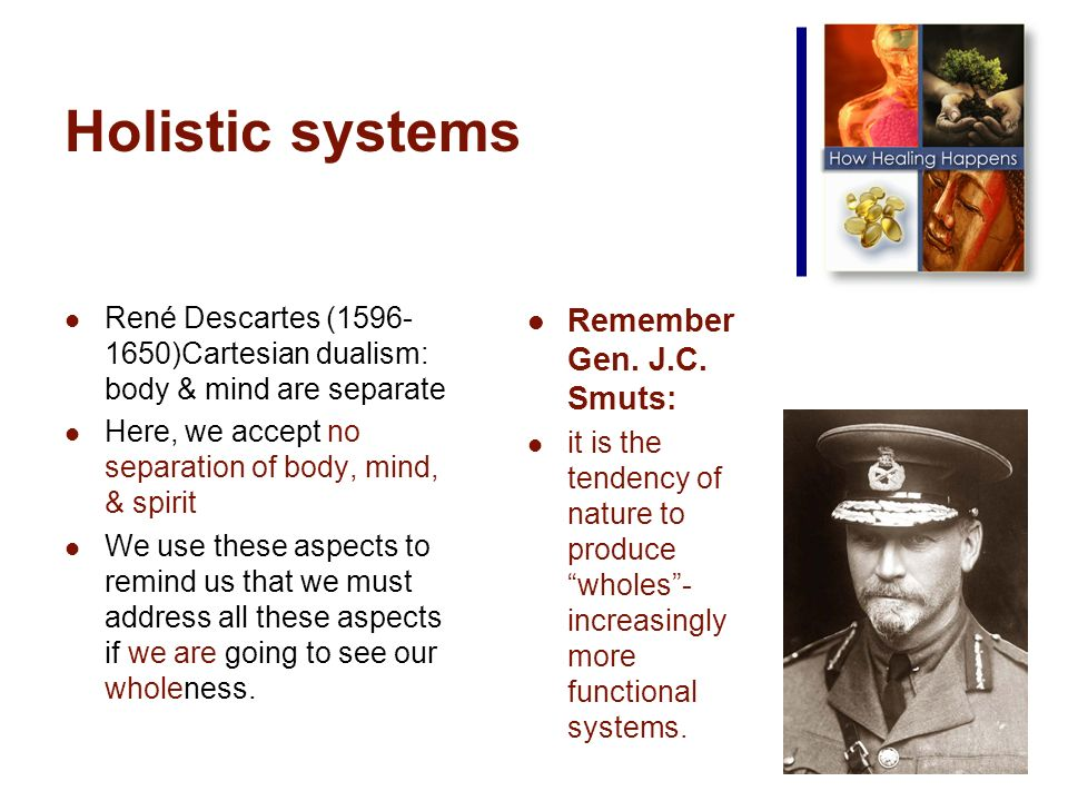Holistic systems René Descartes ( )Cartesian dualism: body & mind are separate Here, we accept no separation of body, mind, & spirit We use these aspects to remind us that we must address all these aspects if we are going to see our wholeness.