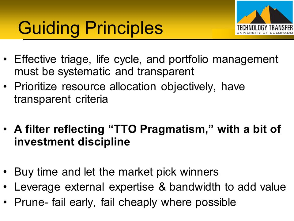 Guiding Principles Effective triage, life cycle, and portfolio management must be systematic and transparent Prioritize resource allocation objectivel
