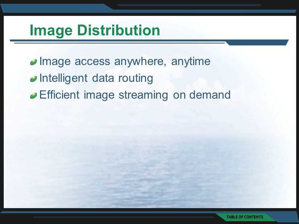 Image Distribution Image access anywhere, anytime Intelligent data routing Efficient image streaming on demand