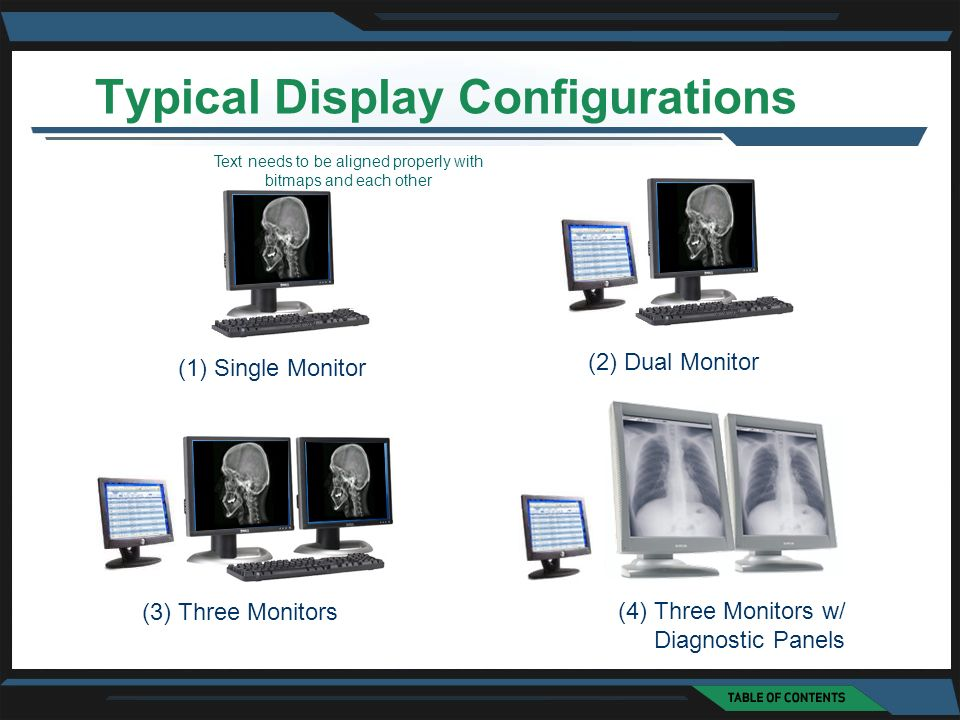 (1) Single Monitor (2) Dual Monitor (3) Three Monitors (4) Three Monitors w/ Diagnostic Panels Typical Display Configurations Text needs to be aligned