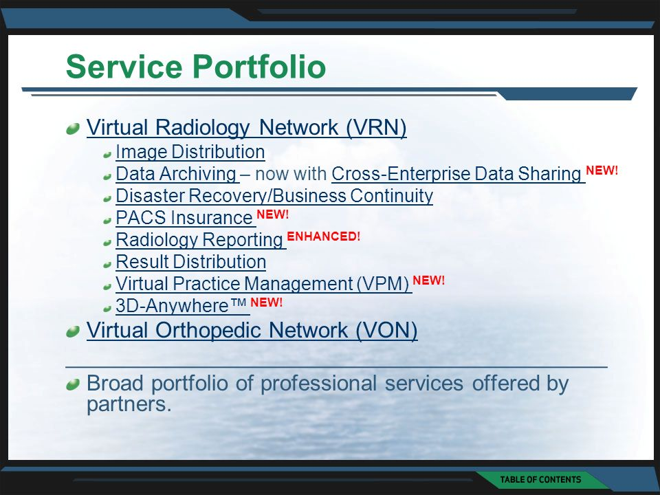 Service Portfolio Virtual Radiology Network (VRN) Image Distribution Data Archiving Data Archiving – now with Cross-Enterprise Data Sharing NEW!Cross-