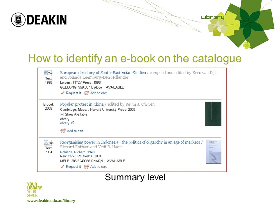 How to identify an e-book on the catalogue Summary level