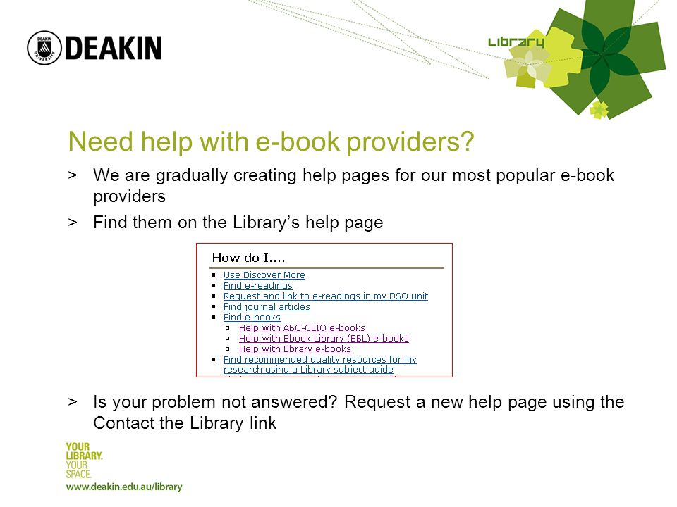 Need help with e-book providers.