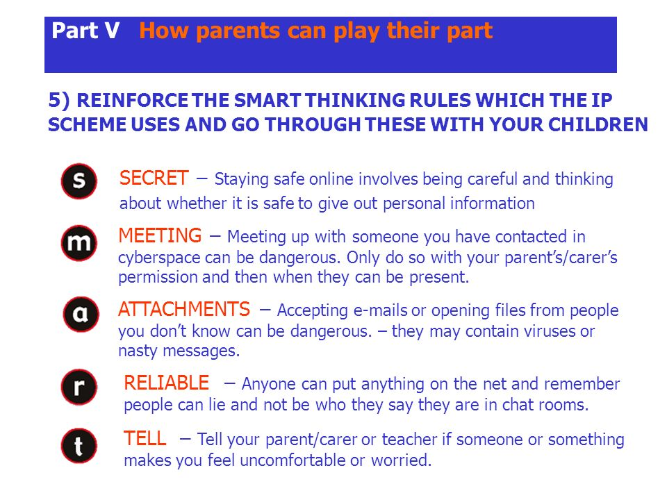 Part V How parents can play their part 5) REINFORCE THE SMART THINKING RULES WHICH THE IP SCHEME USES AND GO THROUGH THESE WITH YOUR CHILDREN SECRET – Staying safe online involves being careful and thinking about whether it is safe to give out personal information MEETING – Meeting up with someone you have contacted in cyberspace can be dangerous.
