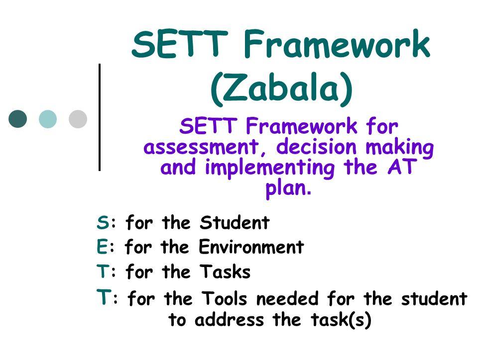 SETT Framework (Zabala) S: for the Student E: for the Environment T: for the Tasks T : for the Tools needed for the student to address the task(s) SET
