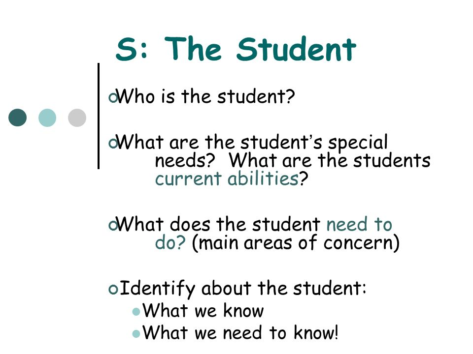 E: The Environment What are the instructional and physical arrangements in the environment(s).