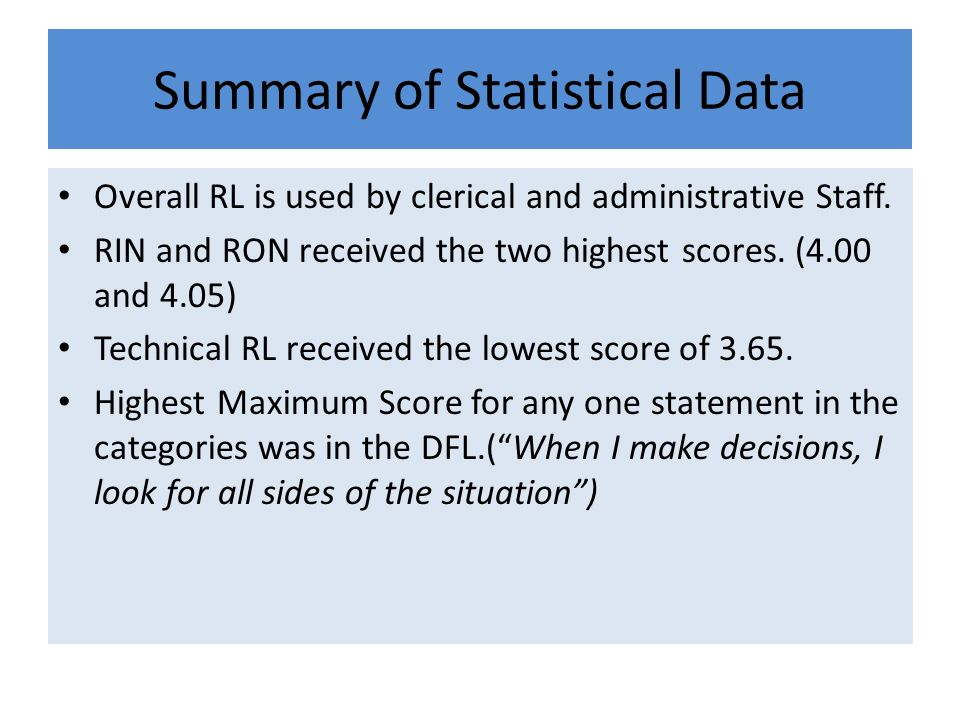 Summary of Statistical Data Overall RL is used by clerical and administrative Staff. RIN and RON received the two highest scores. (4.00 and 4.05) Tech