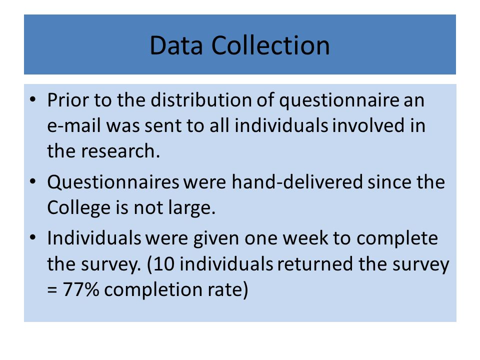 Data Collection Prior to the distribution of questionnaire an e-mail was sent to all individuals involved in the research.