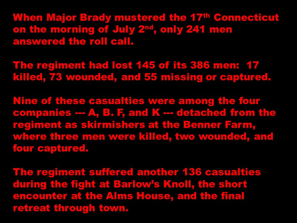 When Major Brady mustered the 17 th Connecticut on the morning of July 2 nd, only 241 men answered the roll call. The regiment had lost 145 of its 386