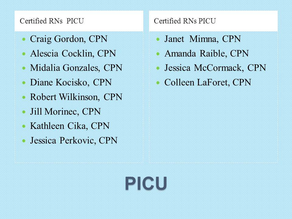 PICU Certified RNs PICU Craig Gordon, CPN Alescia Cocklin, CPN Midalia Gonzales, CPN Diane Kocisko, CPN Robert Wilkinson, CPN Jill Morinec, CPN Kathle