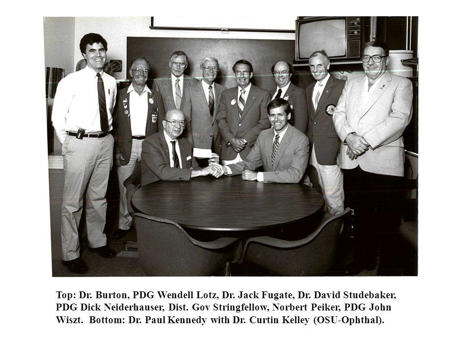 Seated: OLERF President Paul Kennedy, Dean Hill, PDG Dick Neiderhauser, Gov. Stringfellow. Standing: Norbert Peiker, Dr. David Studebaker, Dr. King-sm