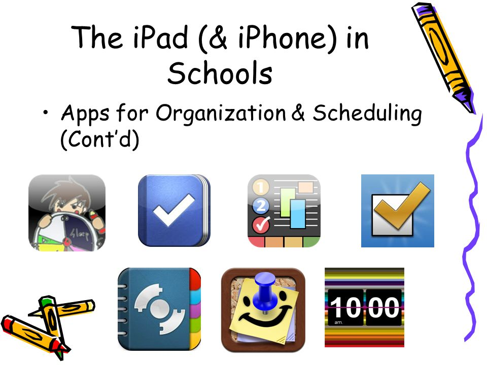 The iPad (& iPhone) in Schools Apps for Organization & Scheduling (Contd)