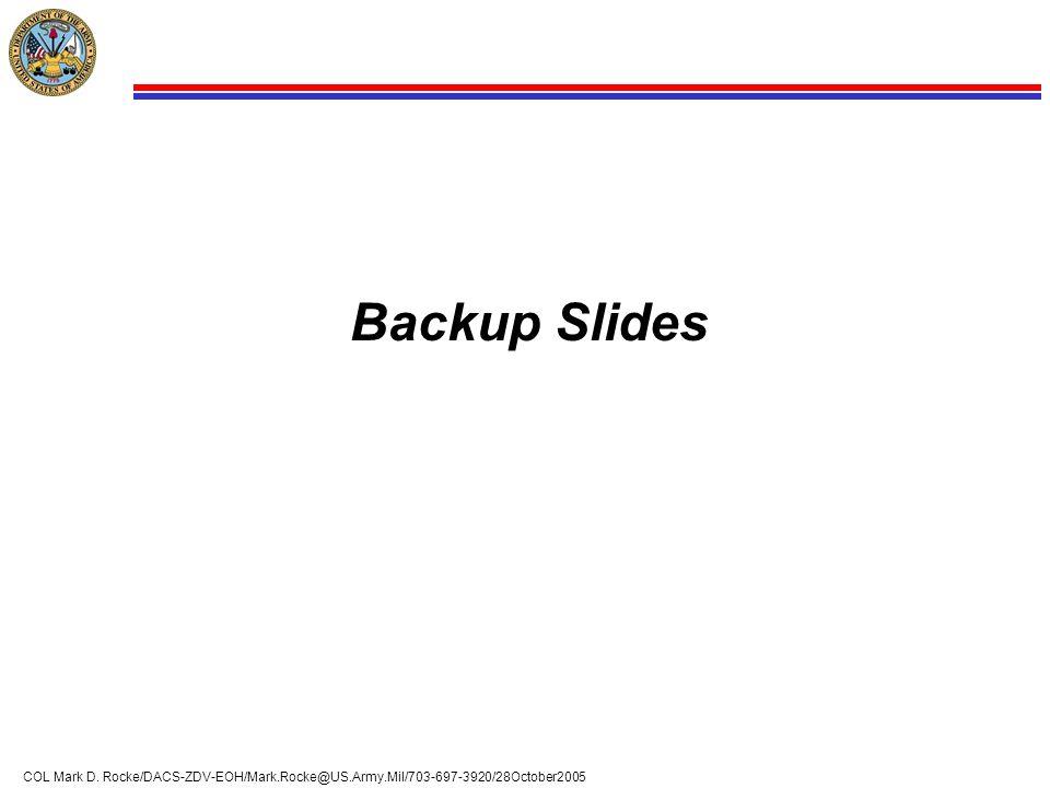 12 COL Mark D. Rocke/DACS-ZDV-EOH/Mark.Rocke@US.Army.Mil/703-697-3920/28October2005 Backup Slides