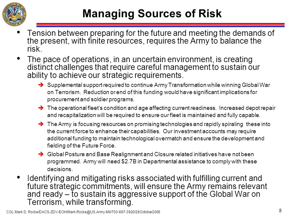 8 COL Mark D. Rocke/DACS-ZDV-EOH/Mark.Rocke@US.Army.Mil/703-697-3920/28October2005 Managing Sources of Risk Tension between preparing for the future a
