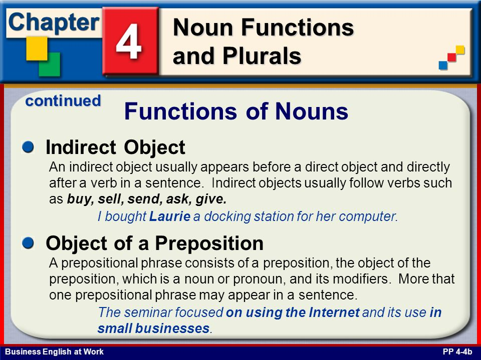 Business English at Work Noun Functions and Plurals Indirect Object Functions of Nouns PP 4-4b An indirect object usually appears before a direct obje