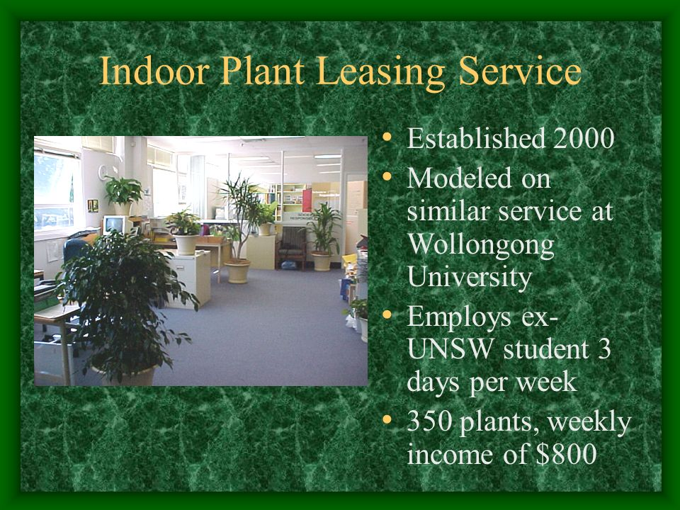 Indoor Plant Leasing Service Established 2000 Modeled on similar service at Wollongong University Employs ex- UNSW student 3 days per week 350 plants, weekly income of $800