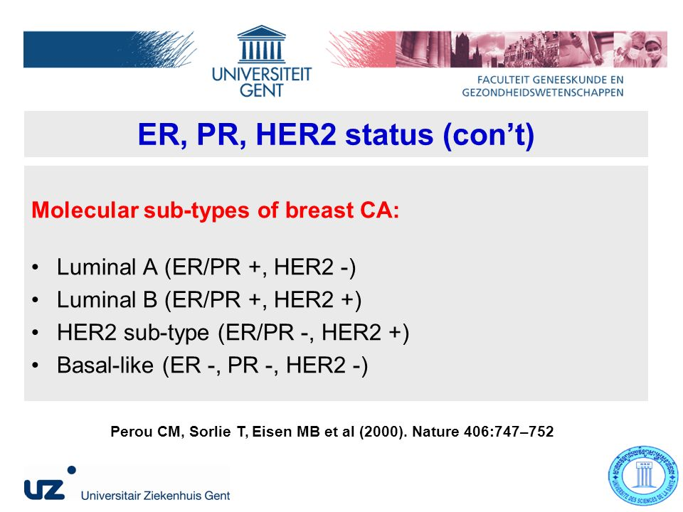 ER, PR, HER2 status (cont) Molecular sub-types of breast CA: Luminal A (ER/PR +, HER2 -) Luminal B (ER/PR +, HER2 +) HER2 sub-type (ER/PR -, HER2 +) Basal-like (ER -, PR -, HER2 -) Perou CM, Sorlie T, Eisen MB et al (2000).