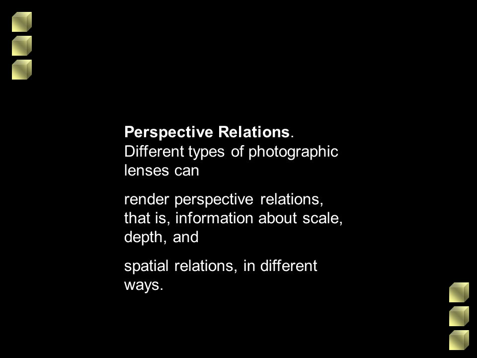 Perspective Relations. Different types of photographic lenses can render perspective relations, that is, information about scale, depth, and spatial r
